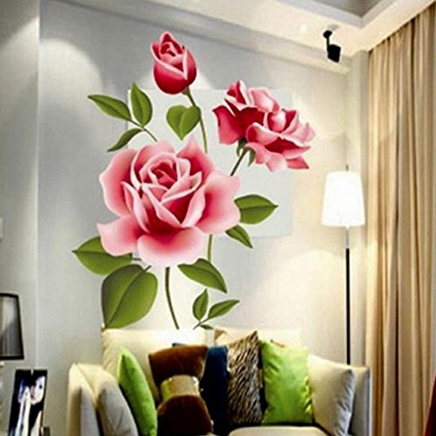 Best Selling Creative Gifts PVC 3D Rose Flower Romantic Love Wall